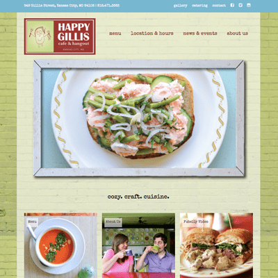 Website Design Happy Gillis Cafe & Hangout Website Design by Feed Me Creative Kansas City